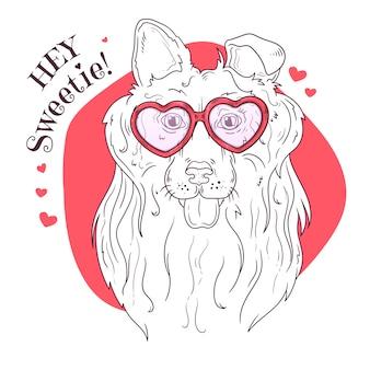Портрет милой собаки в очках.