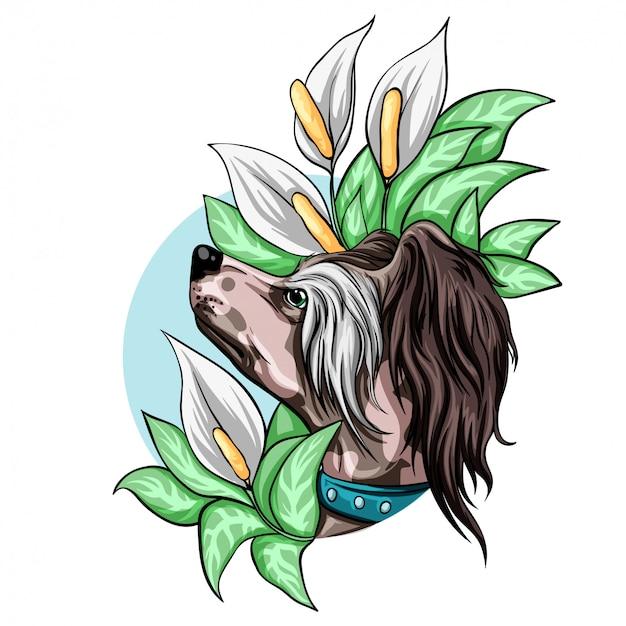 花を持つ犬の肖像画。