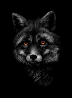 黒の背景にキツネの頭の肖像画。ベクトルイラスト
