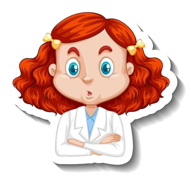 과학 가운 만화 캐릭터 스티커에 여자의 초상화