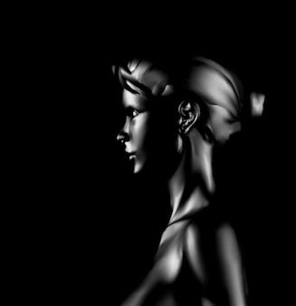少女の肖像画。側面図 Premiumベクター
