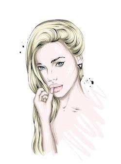 美しい髪の少女の肖像画