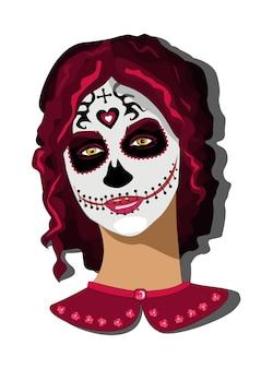 죽음의 날의 멕시코 휴일에 calavera 데스 마스크 메이크업을 한 소녀의 초상화