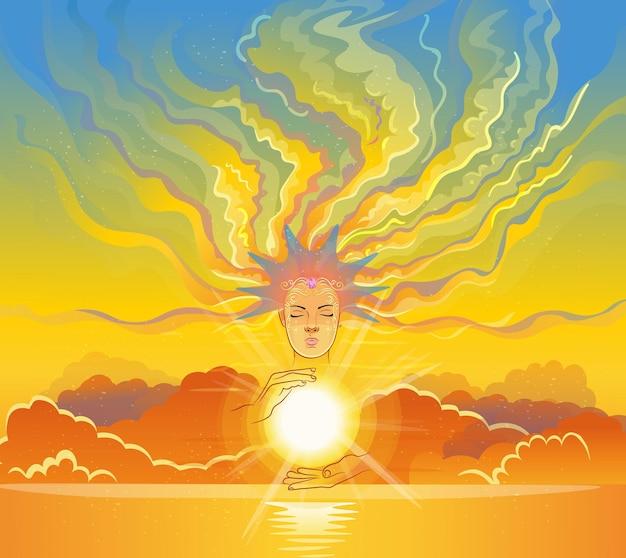 王冠を持つ少女の肖像画。彼女は太陽を持っています、彼女の髪は雲です。ベクトルイラスト。