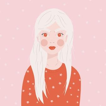 白い星、フラットの図でピンクの背景の赤いセーターの長い白い髪の少女の肖像画