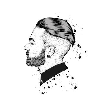 Портрет хипстера с бородой