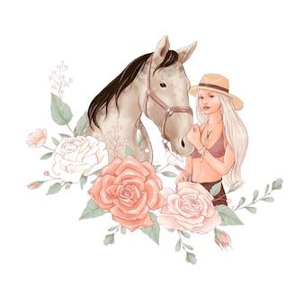 馬とデジタル水彩風の少女とバラの花束の肖像画