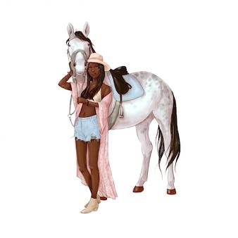 馬とデジタル水彩風の少女の肖像画