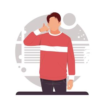 그의 손으로 남자 전화의 초상화는 평면 디자인의 제품을 광고