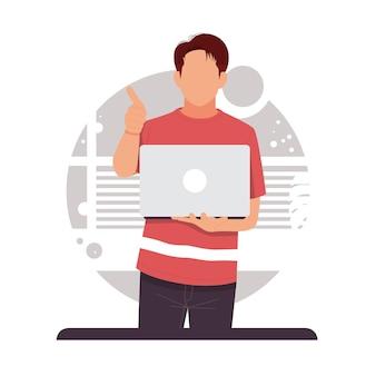 Портрет мужчины, держащего ноутбук, показывает палец вверх плоский дизайн в плоском дизайне