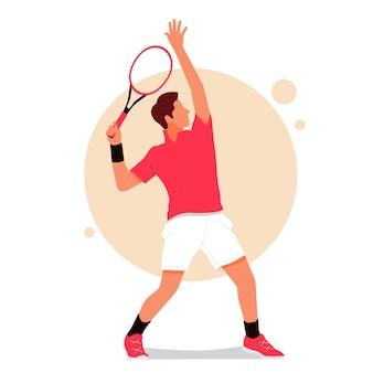 テニスをしている男の肖像画