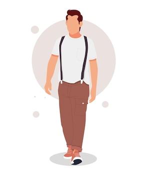 スタイリッシュな衣装でポーズをとる男の肖像画