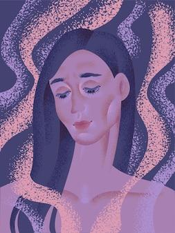 어두운 색상의 우울한 소녀의 초상화입니다. 벡터