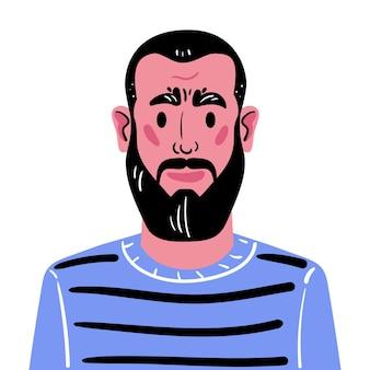 수염과 검은 머리를 가진 중년 남자의 초상화 파란색에서 남자 아바타의 그림