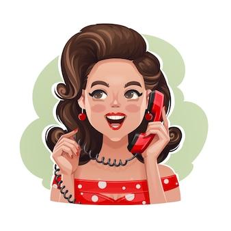 電話で興奮して話しているレトロな女の子の肖像画
