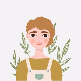 短い髪の少女アバターの肖像画