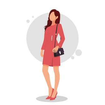 Портрет женщины позирует в стильных нарядах иллюстрации
