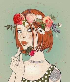 꽃과 함께 매력적인 젊은 여자의 초상화