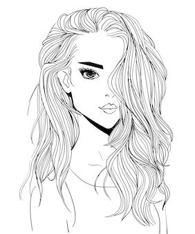 Портрет молодой привлекательной женщины с длинными волосами