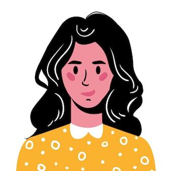 長い黒髪の少女の肖像黄色のセーターを着た笑顔の少女のアバター