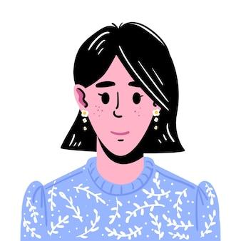 中くらいの長さの黒髪の少女の肖像青いセーターを着た笑顔の少女のアバター