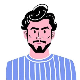 세련된 이발 수염과 콧수염을 가진 젊은 남자의 초상화 파란색 옷을 입은 남자의 아바타