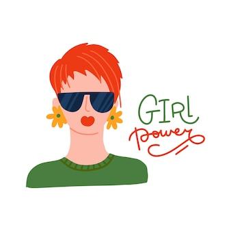短いピクシーカットとサングラスの女の子の力の概念ベクトルfを持つ若いきれいな女性の肖像画...