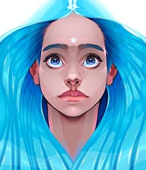 희망을 상징하는 젊은 여자의 초상화