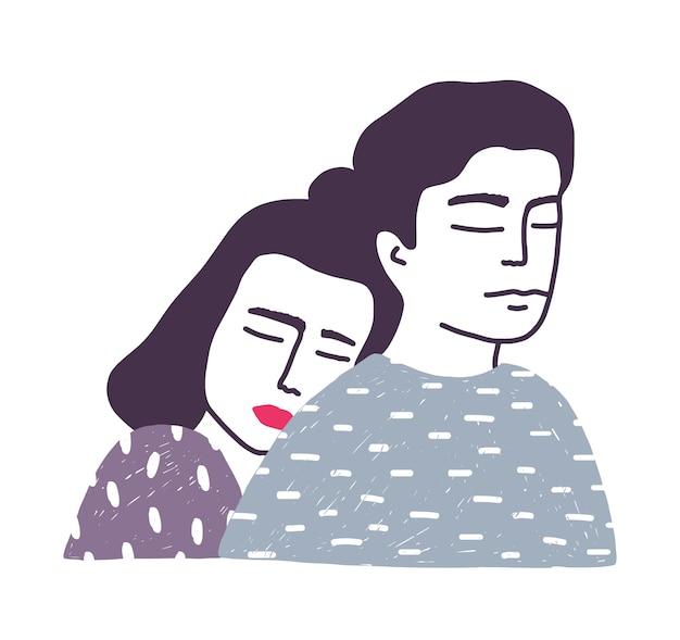 愛らしい若い結婚した愛情のあるカップルまたはロマンチックなパートナーのペアの肖像画。男性の背中に寄りかかって、手描きで彼を抱き締める女性