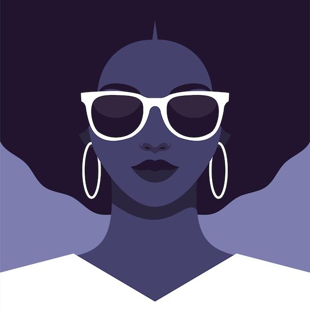 サングラスをかけたアフリカ系アメリカ人女性の肖像画