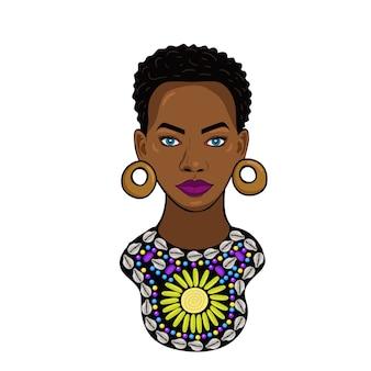 白い背景で隔離のアフリカの王女の肖像画。