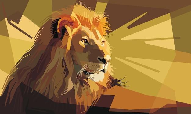 休息している注意深い雄獅子の肖像