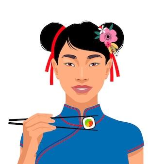 美しいアジアの女性の肖像画。お箸で握り寿司。