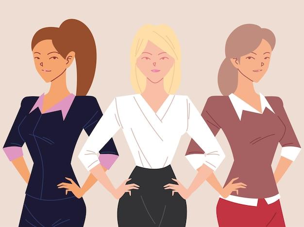 Портрет красивых деловых женщин, улыбающихся деловых женщин