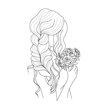 낙서 스타일의 긴 머리 벡터 일러스트와 함께 아름 다운 여자의 초상화