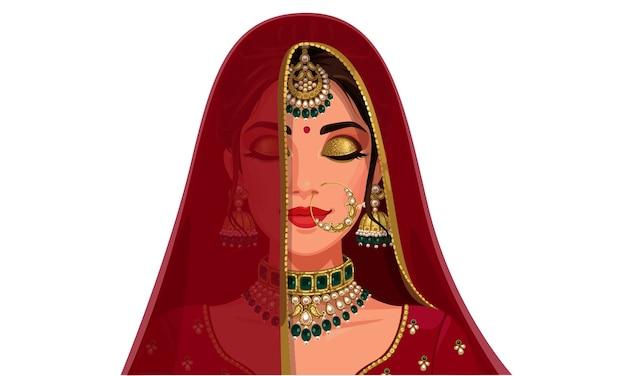 닫힌 된 눈을 가진 아름 다운 인도 신부 얼굴의 초상화