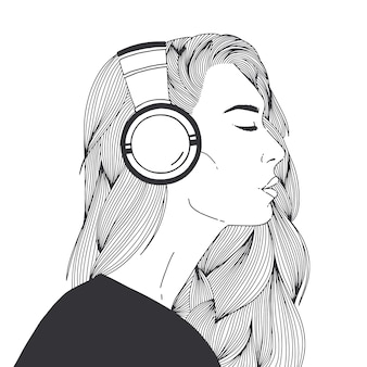 黒の輪郭線で描かれたヘッドフォンを身に着けている美しい長髪の若い女性の肖像画