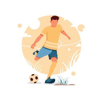 Портрет мальчика, играющего в футбол