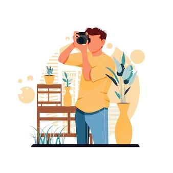디지털 카메라로 사진을 찍고 소년의 초상화