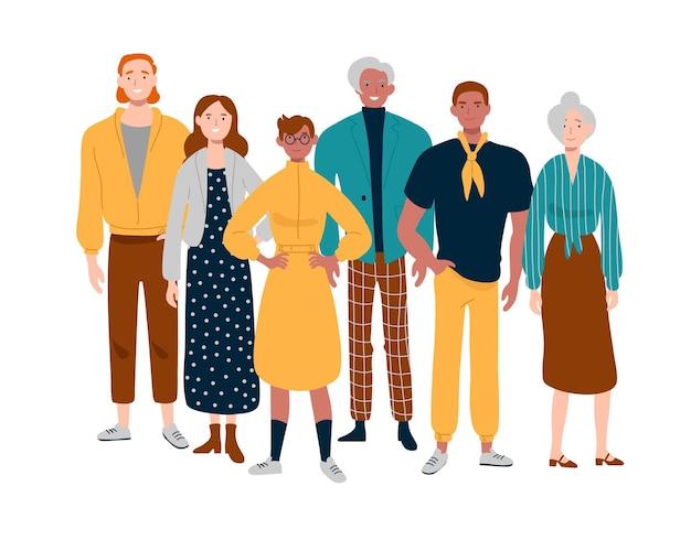 비즈니스 팀의 초상화입니다. 함께 서있는 다양한 사람들.