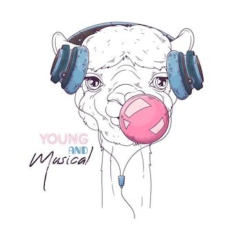 Портрет милой альпаки надувает пузырек жевательной резинки