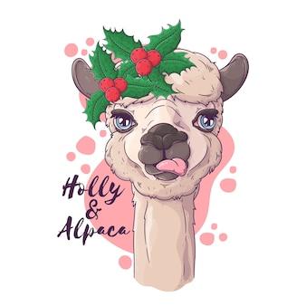 クリスマスアクセサリーのかわいいアルパカの肖像画