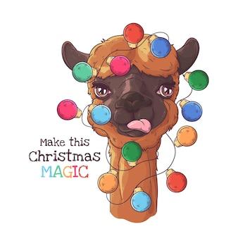クリスマスの花輪とかわいいアルパカの肖像画