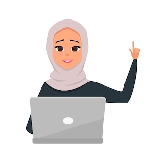 ノートパソコンを使用してかわいいブルネットのアラブの女性の肖像画。学生学習イラスト。注意の印として彼女の手を上げてアラブの女の子