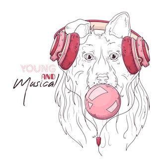 ミュージカルヘッドフォンでかわいいコリー犬の肖像画
