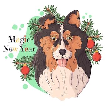 Портрет милой собаки колли с елкой