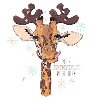 장식용 사슴 뿔에 귀여운 기린의 초상화
