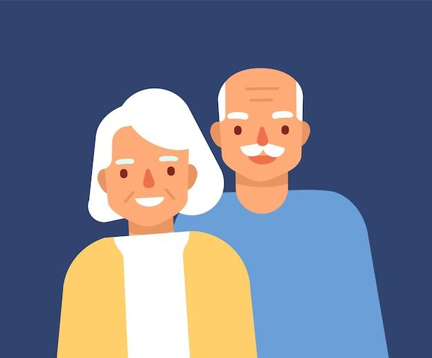 귀여운 행복 한 노인 커플의 초상화입니다. 웃는 노인과 여자, 조부모. 할아버지와 할머니가 함께 서있는