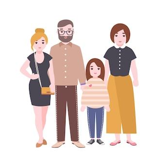 귀여운 사랑 가족의 초상화입니다. 어머니, 아버지와 아이들이 함께 서 있습니다. 부모와 딸. 재미있는 만화 캐릭터 흰색 배경에 고립입니다. 평면 스타일에 화려한 그림입니다.