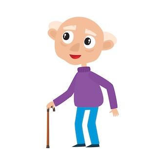 白で隔離の棒でかわいい老人の肖像画、白髪のスタイリッシュな服を着た幸せなおじいさんのイラスト。散歩の先輩。